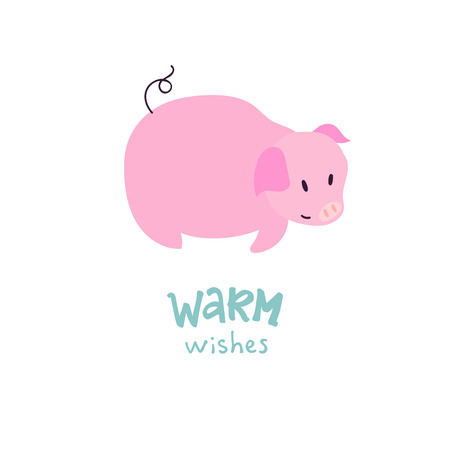 Warm wishes lettering with piggy illustration. Can be used for print, greeting cards, t-shirts