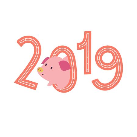 2019 print illustration with cute piggy. Symbol of the Year