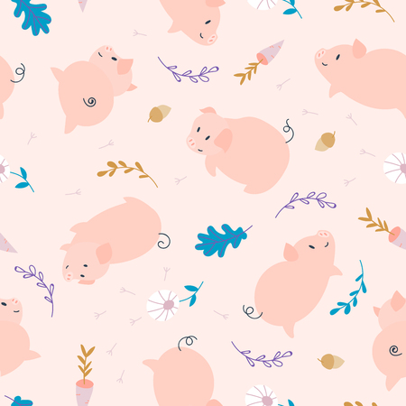 Simple pig seamless pattern. Pink piggy background with oak leaf, carrot and acorn for fabric