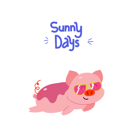 Adorable piggy with fancy sunglasses taking sunbathes. Poster with modern lettering Фото со стока - 127395628