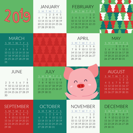 2019 calendar with cute pigs symbol of the year. Compact poster or greeting card Фото со стока - 127395630