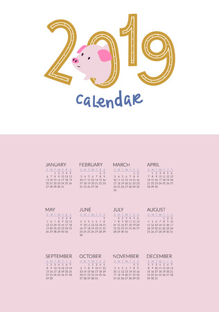 2019 calendar with cute pigs symbol of the year. Compact poster or greeting card Иллюстрация
