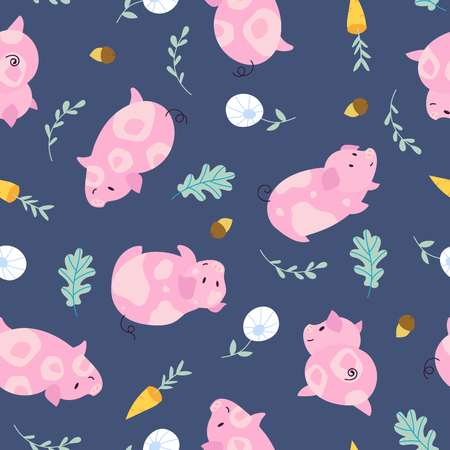 Simple pig seamless pattern. Piggy background with oak leaf, carrot and acorn for fabric Иллюстрация
