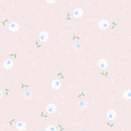 Dandelion flower simple seamless pattern for print or fabric