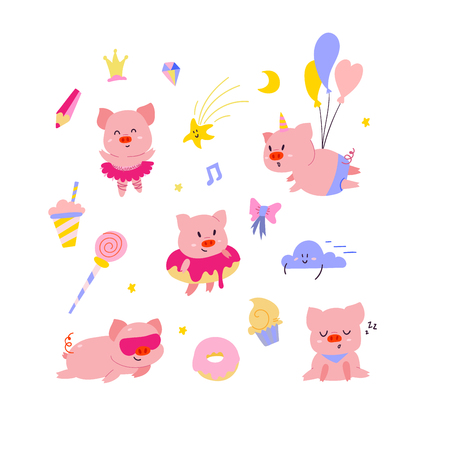 Cute little pigs illustration set. Funny characters set with decorative elements. 2019 symbol Фото со стока - 127395634
