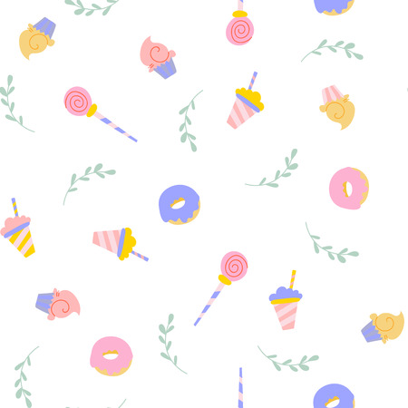 Cute sweets seamless pattern with cake, donut, lollipop and shake