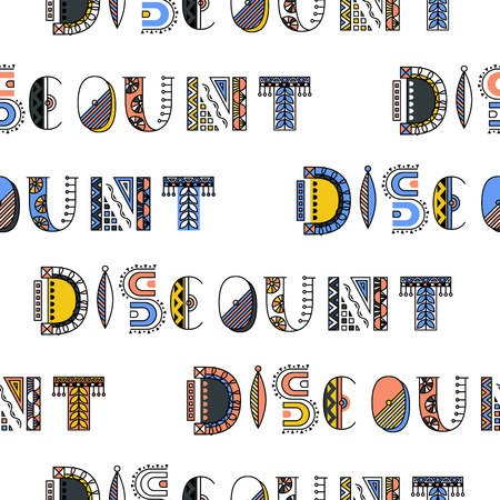 Discount modern doodle lettering. Simple seamless pattern.