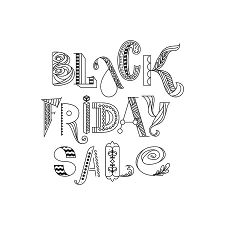 Black friday sale modern doodle lettering. Can be used for t-shirt print, advertisement card Фото со стока - 127395638
