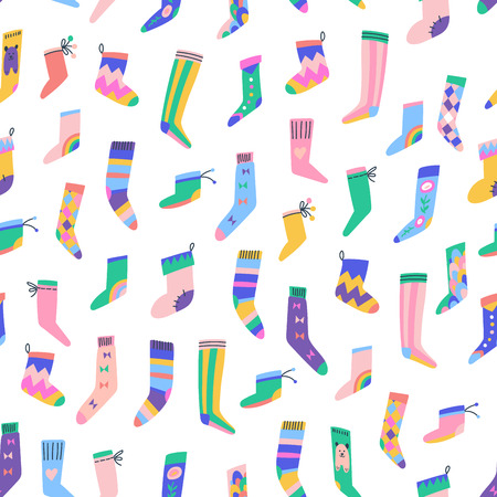 Fancy socks colorful collection. Simple seamless pattern.