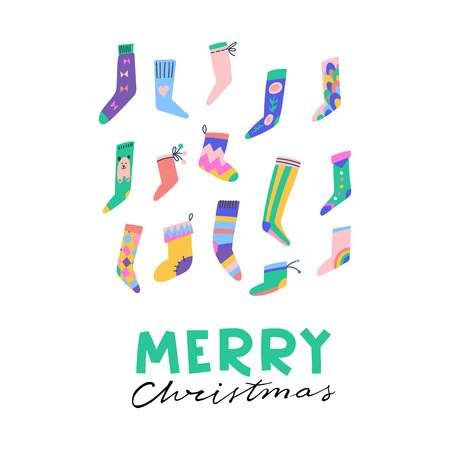 Fancy socks colorful collection. Christmas greeting card