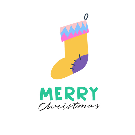 Colorful gift sock. Christmas greeting card with lettering Иллюстрация