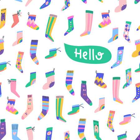 Fancy socks colorful collection. Hello greeting card