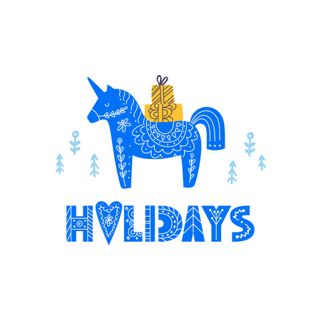 Unicorn illustration with lettering made in scandinavian style. Christmas greeting card or print