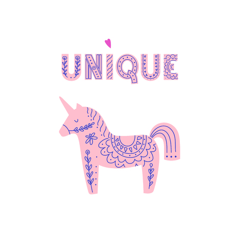 Unicorn illustration with Unique lettering made in scandinavian style. Фото со стока - 127395645