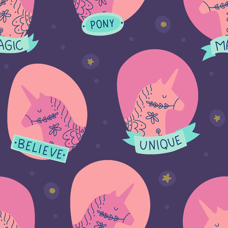 Scandinavian style unicorn heads illustration with ribbons and stars. Seamless pattern Фото со стока - 127395648