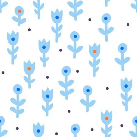 Simple seamless pattern with flower made in traditional scandinavian style Иллюстрация