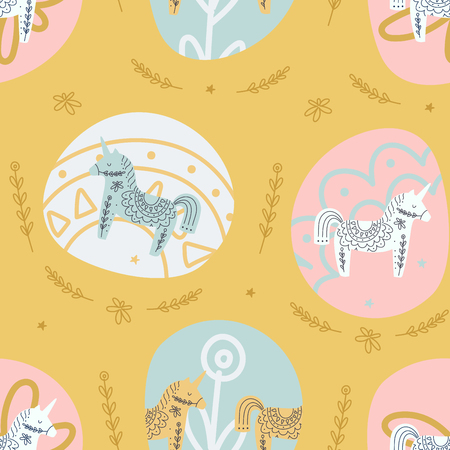 Scandinavian style unicorns pastel colors seamless pattern
