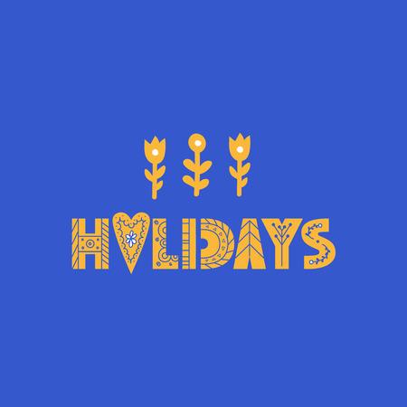 Feiertagsbeschriftung im modernen und Doodle-Stil. Kann für Druck, Poser oder Karte verwendet werden