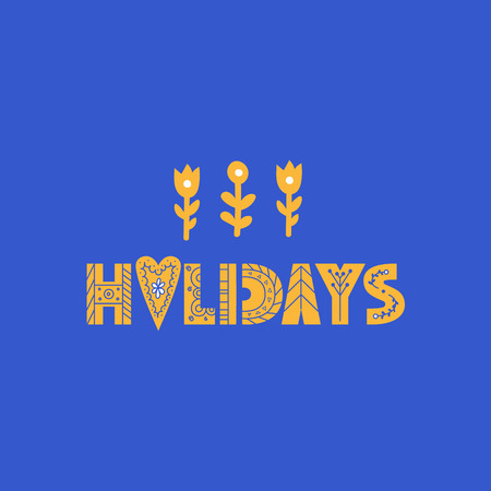 Holiday lettering made in modern and doodle style. Can be used for print, poser or card Фото со стока - 127395653