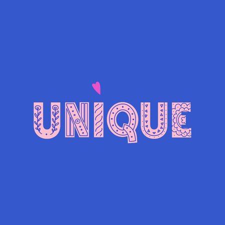 Unique lettering made in modern and doodle style. Can be used for print, poser or card