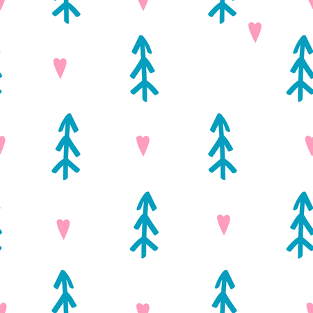 Simple seamless pattern made in scandinavian style with firs and hearts