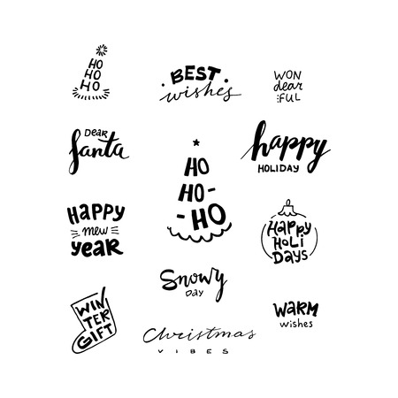 Christmas and New Year calligraphy phrases. Modern lettering set. Can be used for print, greeting cards, t-shirts and photo overlays. 矢量图像