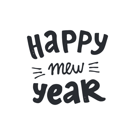Happy Mew Year modern lettering. Ho-ho-ho modern lettering. Can be used for print, greeting cards, t-shirts and photo overlays.