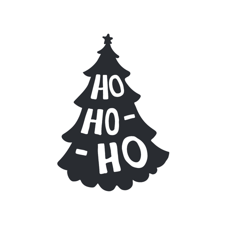 Ho-ho-ho modern lettering. Christmas tree silhouette. Can be used for print, greeting cards, t-shirts and photo overlays.