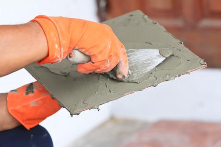 handtools: tile installation Stock Photo