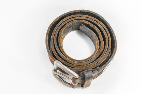 cuero vaca: cow leather belt handmade on white