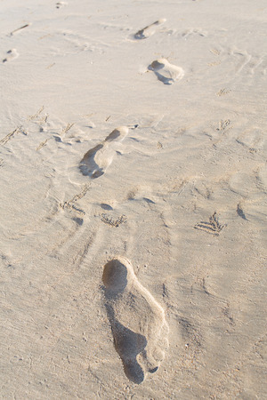 footstep: one man footstep on sand Stock Photo