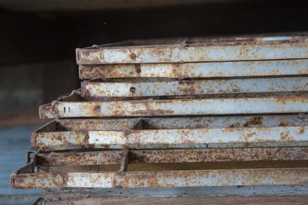 galvanised: rust on iron window sheet close up