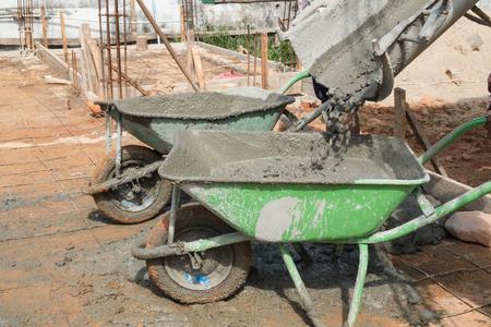 groene auto voor containermengsel beton