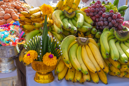 food fruits flower sacrificial offering for god Stock Photo