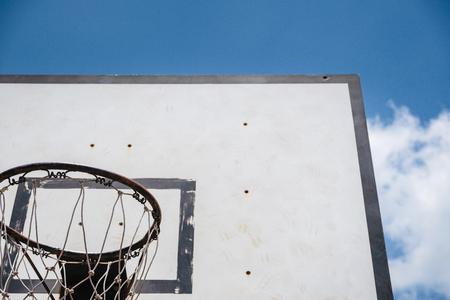 basketball backboard in the garden and blue sky