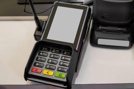 Card swipe machine on the table