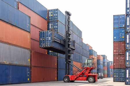 Folk lift car working in container yard for preparing imported or exported products background,Container Trainer full of products for delivery to customer