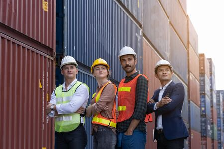 Portrait team of inspector engineers that work together efficiently until the work is completed successfully. In construction sites or in factories or warehouses Stockfoto