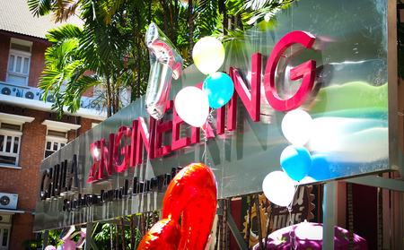 seniority: Bangkok, Thailand - September 26, 2015 : Chula Engineering sign with the balloons floating in the commencement day, Chulalongkorn University.
