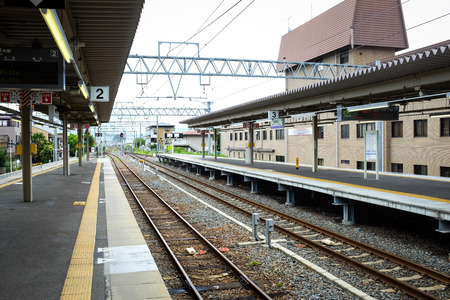 Kyoto, Japan - August 04, 2014 : Peaceful train station in Kyoto where everyone use bus, Japan