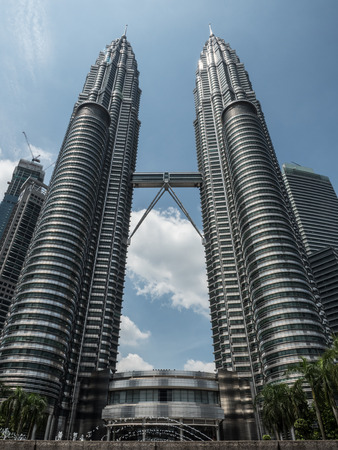 A clear beautiful day to see the twin towers that used to be the highest twin towers among the world, the Petronas Twin Tower in Kuala Lumpur, Malaysia.