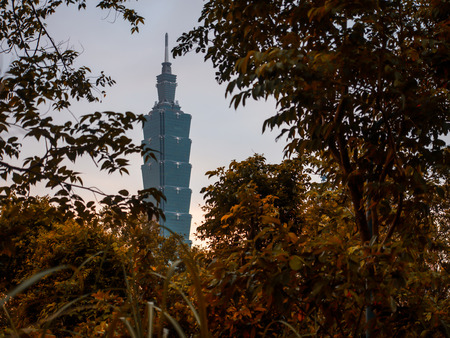 pendulum: Taipei 101 skyscraper view from the little hole between orange trees while walking up to Xiangshan hiking trail, the hill behind Taipei city where the view of the whole city could be seen there. Stock Photo