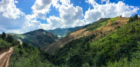 The route along the mountain for travel to trek to the top of the mountain range at Doi Phu Wae, Nan, Thailand.