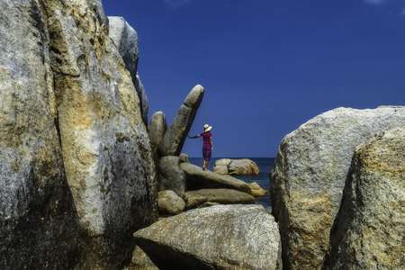 Many large stones from Belitung Island Banque d'images