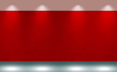 red and white: wall background with light spots