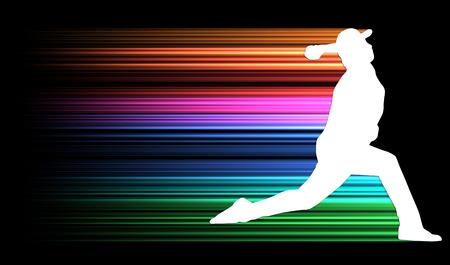 投手のシルエット 写真素材