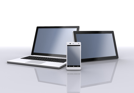 Laptop, mobile phone and tablet pc. 3d