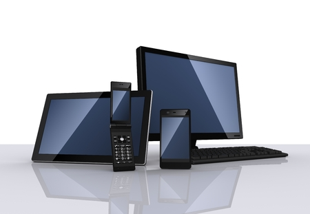 flip phone: Personal computer,tablet pc, smartphone and feature phone Stock Photo