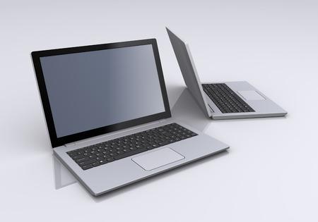 机の上のノート パソコン
