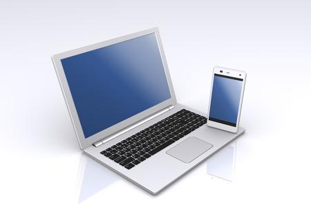 パソコンとスマート フォン 写真素材